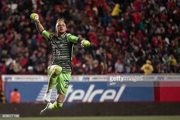 William Yarborough of Leon celebrates after his team scored against Tijuana in their Mexican Apertura 2016 Tournament quarterfinal football match at...