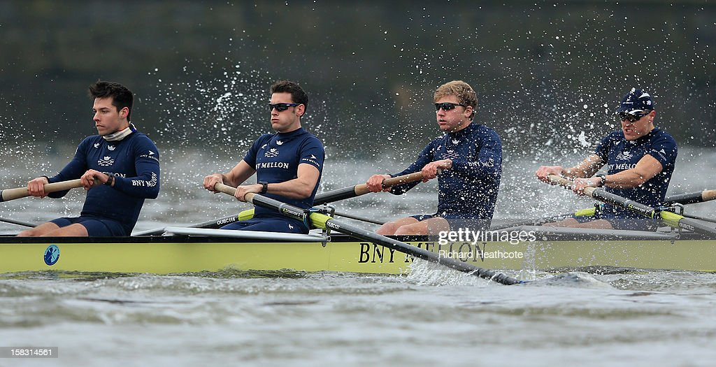William Zeng, Dr Alex Woods, Constantine Louloudis and Karl Hudspith of Oxford's 'Hurricane' crew in action during the trial 8's for The BNY Melon University Boat Race on The River Thames on December 13, 2012 in London, England.