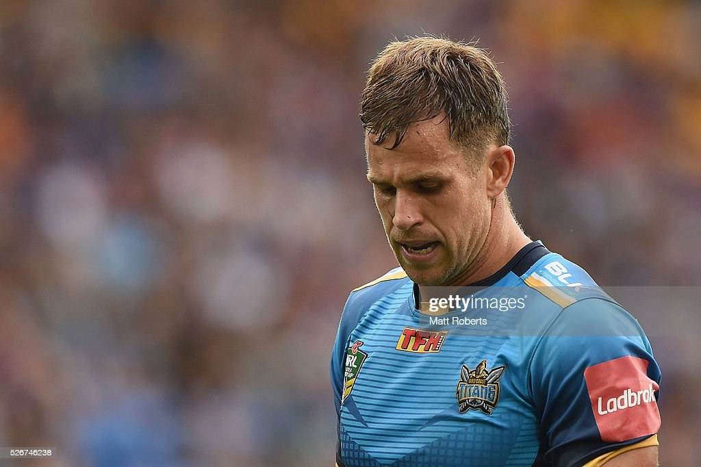 William Zillman of the Titans looks dejected during the round nine NRL match between the Gold Coast Titans and the Melbourne Storm on May 1, 2016 in Gold Coast, Australia.