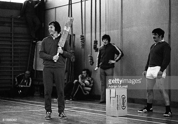 Williams and Bobby Windsor play indoor cricket during the British Lions tour of New Zealand in June 1977