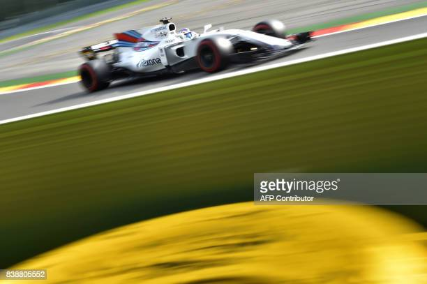 TOPSHOT Williams' Brazilian driver Felipe Massa drives during the first practice session at the SpaFrancorchamps circuit in Spa on August 25 2017...
