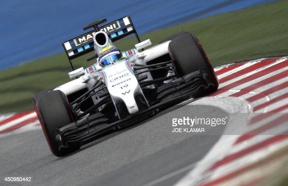 Williams' Brazilian driver Felipe Massa drives in the qualifying session of the Austrian Formula One Grand Prix at the Red Bull Ring in Spielberg...
