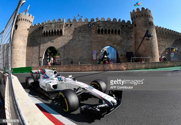 Williams' Canadian driver Lance Stroll steers his car during the Formula One Azerbaijan Grand Prix at the Baku City Circuit in Baku on June 25 2017 /...