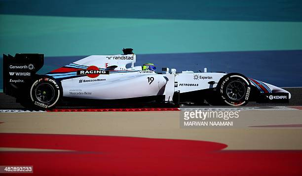 Williams driver Felipe Massa of Brazil steers his car during the third practice session of the Formula One Bahrain Grand Prix at Bahrain's Sakhir...