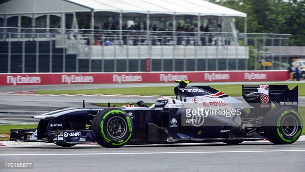 Williams F1 Team Valteri Bottas from Finland at the Senna chicane during the F1 Grand Prix third practice session at the Circuit Gilles Villeneuve in...
