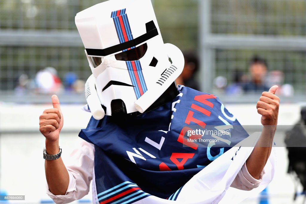 A Williams fan dressed as a stormtrooper during previews ahead of the Formula One Grand Prix of Japan at Suzuka Circuit on October 5, 2017 in Suzuka.