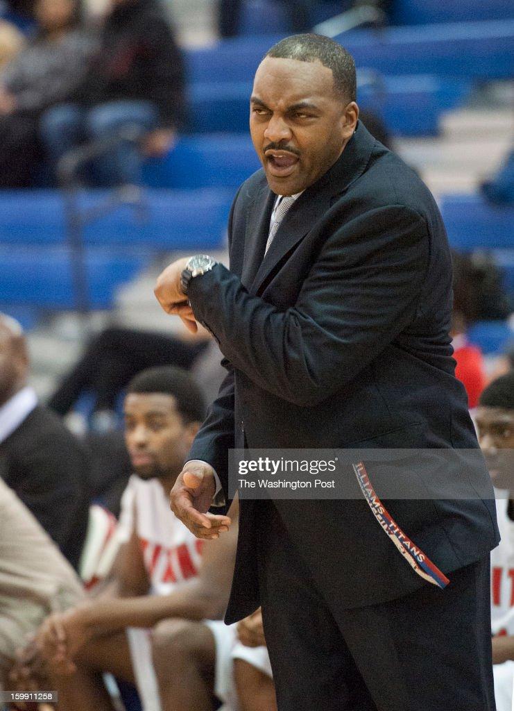 T.C. Williams Head coach Julian King yells at the team Tuesday, January 22, 2013 in Alexandria, VA.
