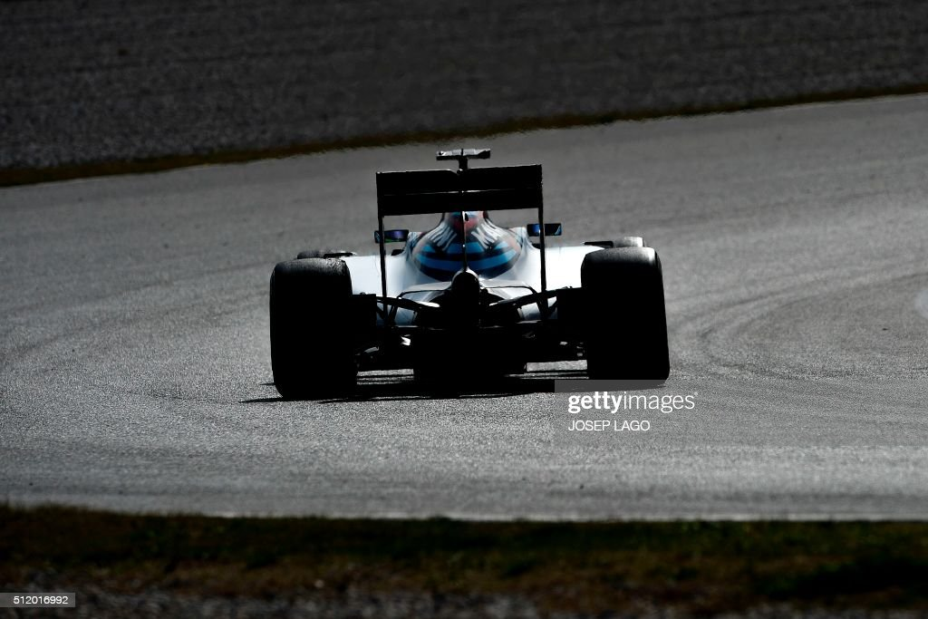 TOPSHOT Williams Martini Racing team's Brazilian driver Felipe Massa drives at the Circuit de Catalunya on February 24 2016 in Montmelo on the...