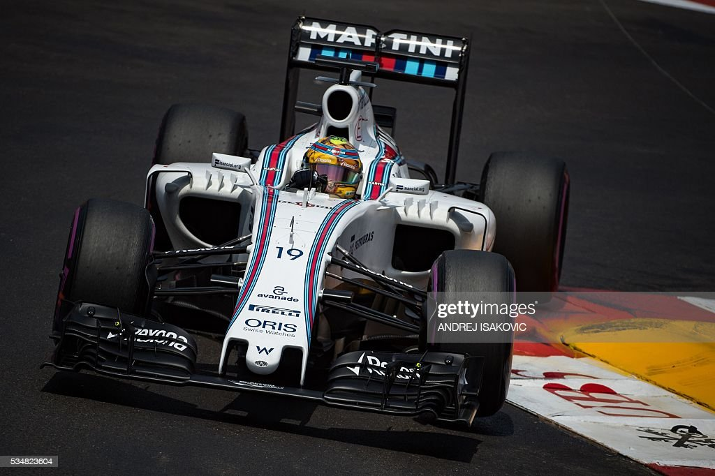 Williams Martini Racing's Brazilian driver Felipe Massa drives during the qualifying session at the at the Monaco street circuit, on May 28, 2016 in Monaco, one day ahead of the Monaco Formula 1 Grand Prix. / AFP / ANDREJ
