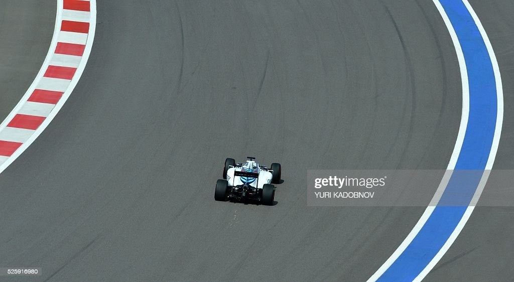 Williams Martini Racing's Brazilian driver Felipe Massa steers his car during the first practice session of the Formula One Russian Grand Prix at the Sochi Autodrom circuit on April 29, 2016. / AFP / YURI