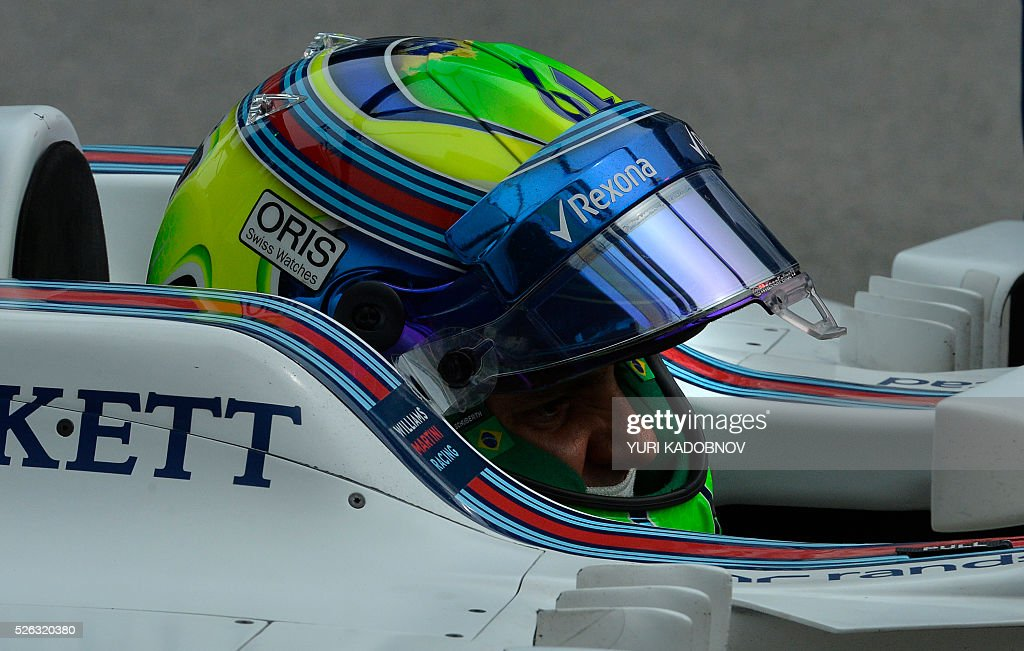 Williams Martini Racing's Brazilian driver Felipe Massa steers his car during the third practice session of the Formula One Russian Grand Prix at the Sochi Autodrom circuit on April 30, 2016. / AFP / YURI