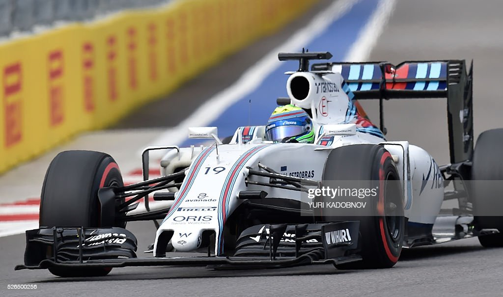 Williams Martini Racing's Brazilian driver Felipe Massa steers his car during the qualifying session of the Formula One Russian Grand Prix at the Sochi Autodrom circuit on April 30, 2016. / AFP / YURI