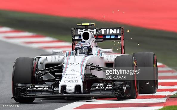 Williams Martini Racing's Finnish driver Valtteri Bottas drives at the Red Bull Ring in Spielberg on June 19 2015 during the first practice session...