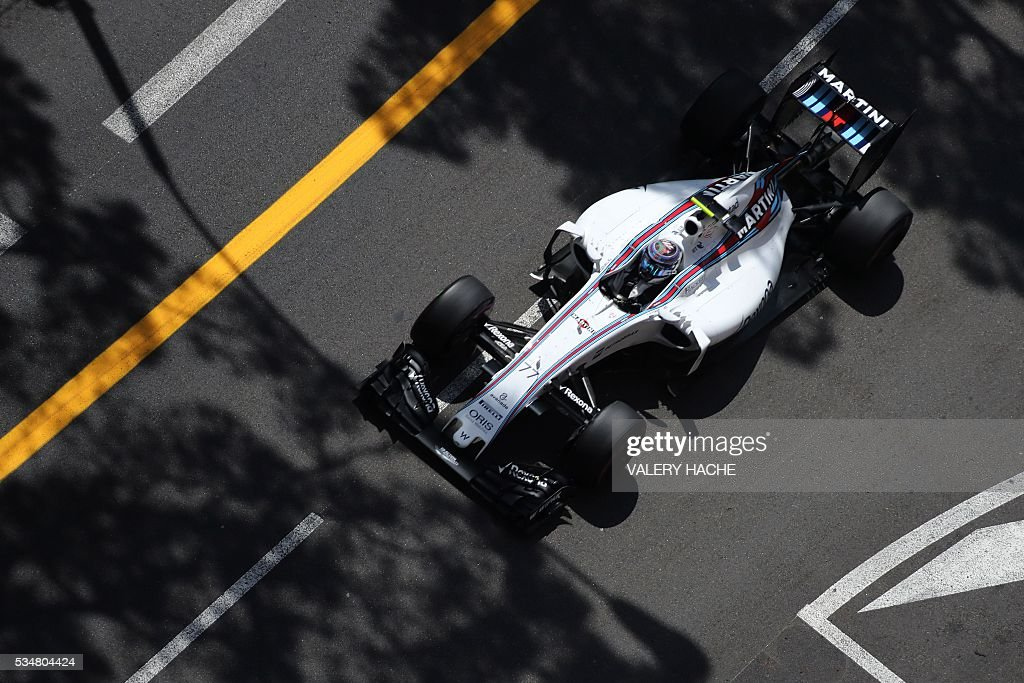 Williams Martini Racing's Finnish driver Valtteri Bottas drives during the third practice session at the Monaco street circuit, on May 28, 2016 in Monaco, one day ahead of the Monaco Formula 1 Grand Prix. / AFP / Valery HACHE