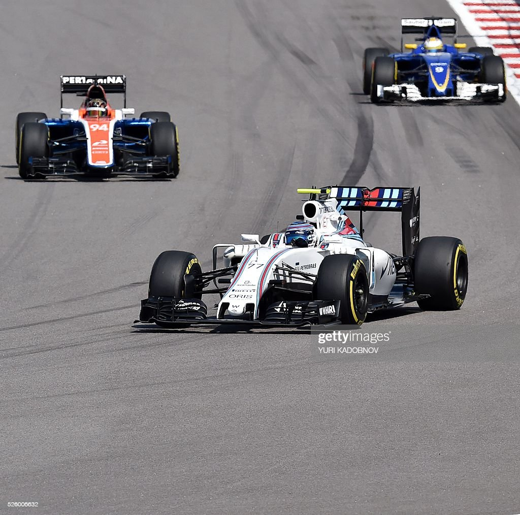 Williams Martini Racing's Finnish driver Valtteri Bottas (C), Manor Racing MRT's German driver Pascal Wehrlein (L) and Sauber F1 Team's Swedish driver Marcus Ericsson steer their cars during the second practice session of the Formula One Russian Grand Prix at the Sochi Autodrom circuit on April 29, 2016. / AFP / YURI