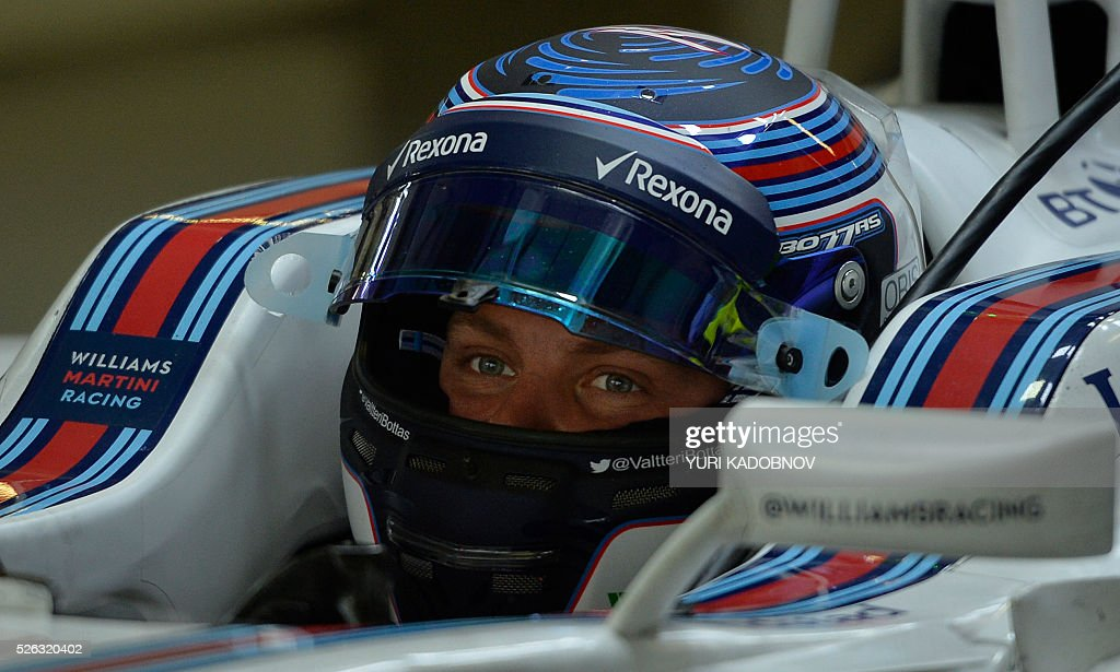 Williams Martini Racing's Finnish driver Valtteri Bottas sits his car during the third practice session of the Formula One Russian Grand Prix at the Sochi Autodrom circuit on April 30, 2016. / AFP / YURI