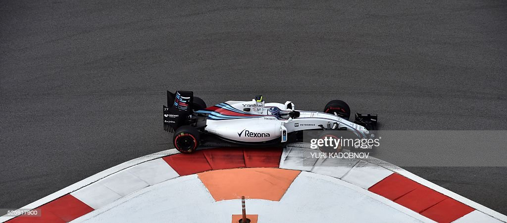 Williams Martini Racing's Finnish driver Valtteri Bottas steers his car during the first practice session of the Formula One Russian Grand Prix at the Sochi Autodrom circuit on April 29, 2016. / AFP / YURI