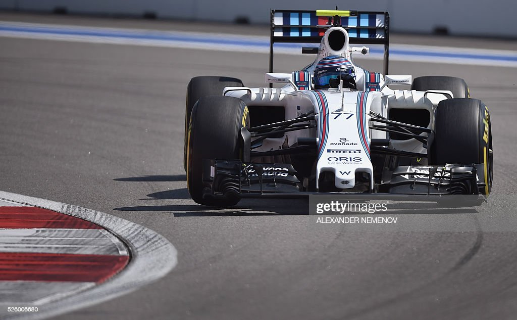 Williams Martini Racing's Finnish driver Valtteri Bottas steers his car during the second practice session of the Formula One Russian Grand Prix at the Sochi Autodrom circuit on April 29, 2016. / AFP / ALEXANDER