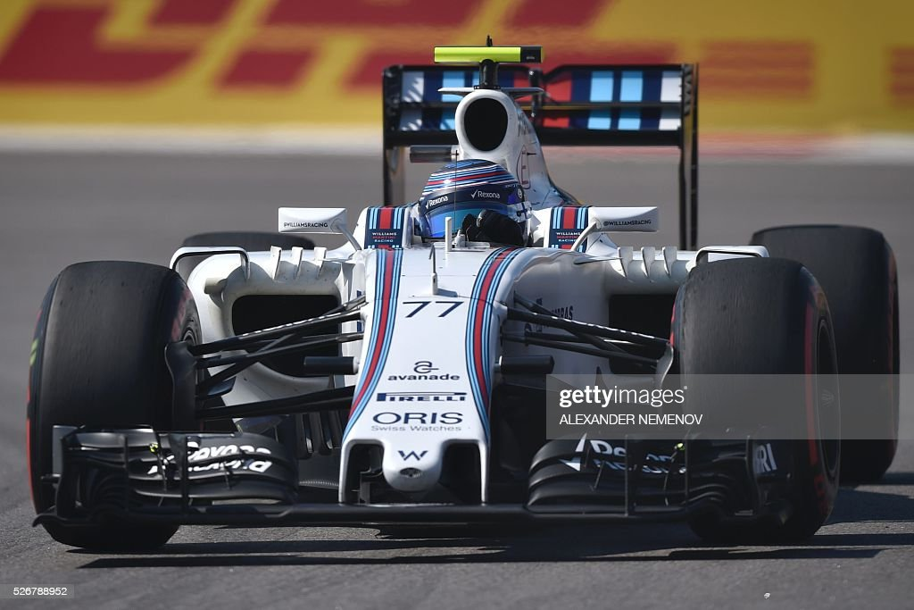 Williams Martini Racing's Finnish driver Valtteri Bottas steers his car during the Formula One Russian Grand Prix at the Sochi Autodrom circuit on May 1, 2016. / AFP / ALEXANDER