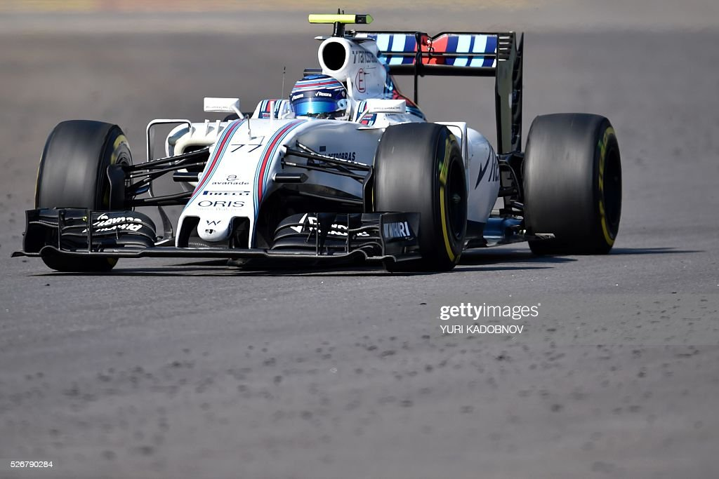 Williams Martini Racing's Finnish driver Valtteri Bottas steers his car during the Formula One Russian Grand Prix at the Sochi Autodrom circuit on May 1, 2016. / AFP / YURI