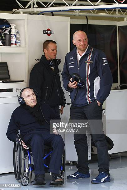 Williams Martini Racing's Team Chief Frank Williams looks at a control screen in the pit during the Formula One preseason third test day at the...