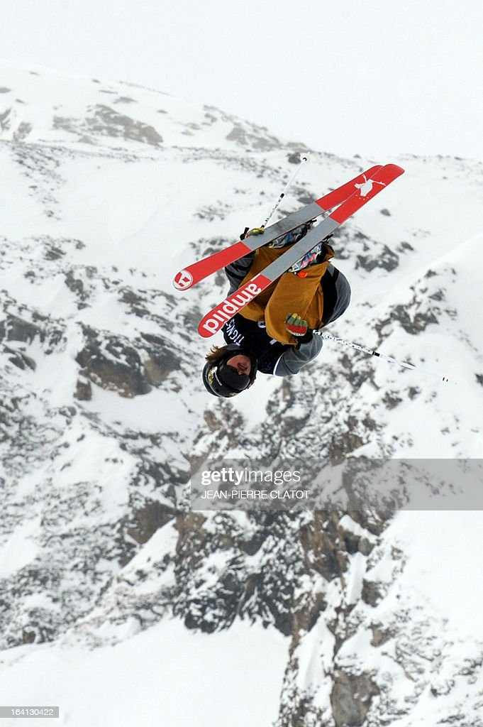 US' Williams McRae competes in the men's Ski Slopestyle qualification round of the European Winter XGames on March 20 2013 in French Alps ski resort...