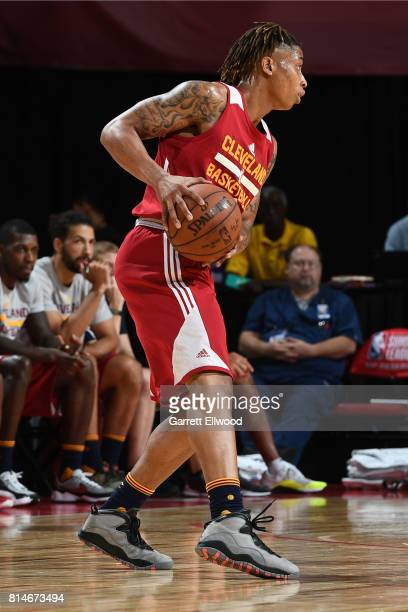 J Williams of the Cleveland Cavaliers handles the ball against the Toronto Raptors on July 14 2017 at the Thomas Mack Center in Las Vegas Nevada NOTE...