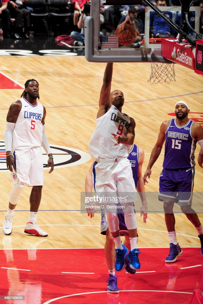 C.J. Williams #9 of the LA Clippers goes to the basket against the Sacramento Kings on October 12, 2017 at STAPLES Center in Los Angeles, California.