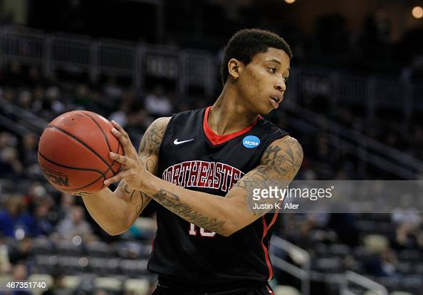 J Williams of the Northeastern Huskies plays against the Notre Dame Fighting Irish during the second round of the 2015 NCAA Men's Basketball...
