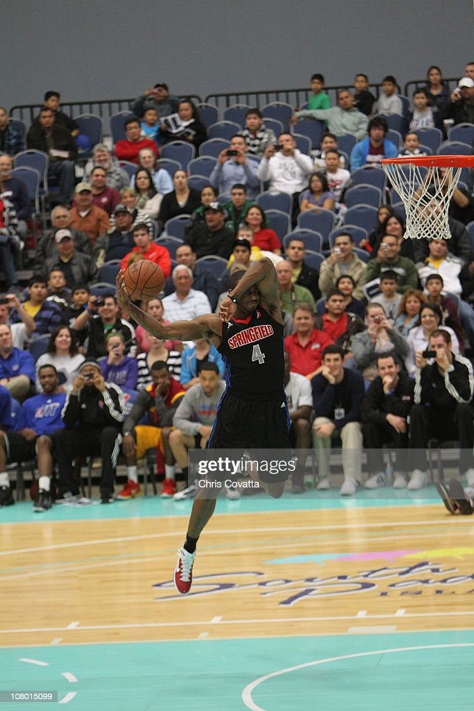 LD Williams of the Springfield Armor dunks during the Dunk Contest trophy during 2011 NBA D-League Showcase Slam Dunk and 3 Point Shooting Contest during the 2011 NBA D-League Showcase on January 12, 2011 at the South Padre Island Convention Center in South Padre Island, Texas.