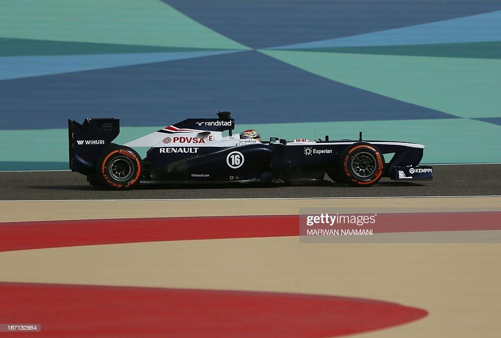 William's Venezuelan driver Pastor Maldonado drives at the Bahrain International Circuit in Manama on April 21, 2013 during the Bahrain Formula One Grand Prix.