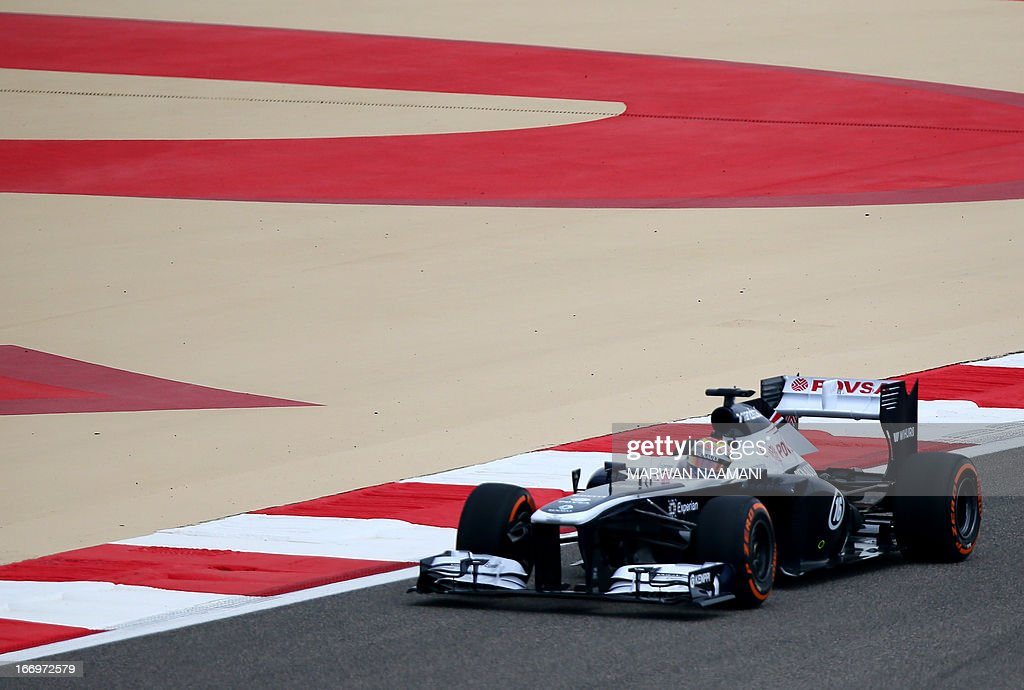 William's Venezuelan driver Pastor Maldonado drives on April 19, 2013 during the first practice session at the Bahrain International Circuit in Manama ahead of the Bahrain Formula One Grand Prix.