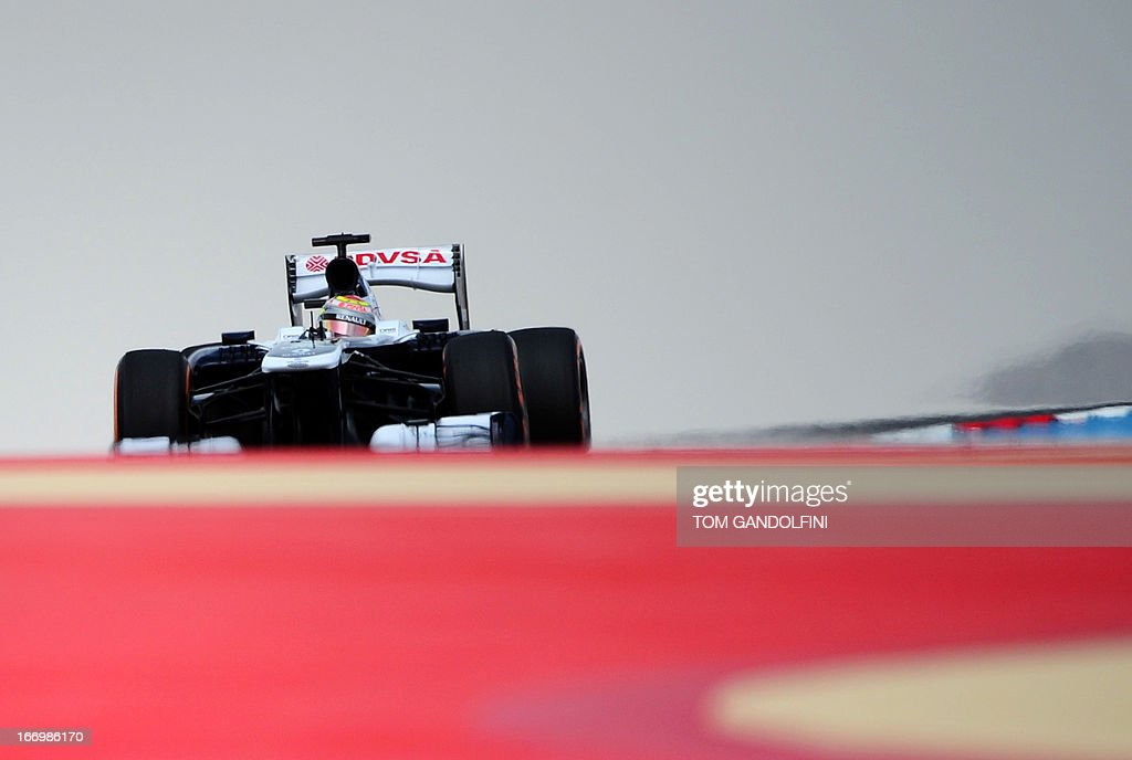 William's Venezuelan driver Pastor Maldonado drives on April 19, 2013 during the second practice session at the Bahrain International Circuit in Manama ahead of the Bahrain Formula One Grand Prix.