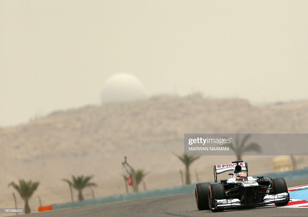 William's Venezuelan driver Pastor Maldonado drives on April 20, 2013 during the third practice session at the Bahrain International Circuit in Manama ahead of the Bahrain Formula One Grand Prix.