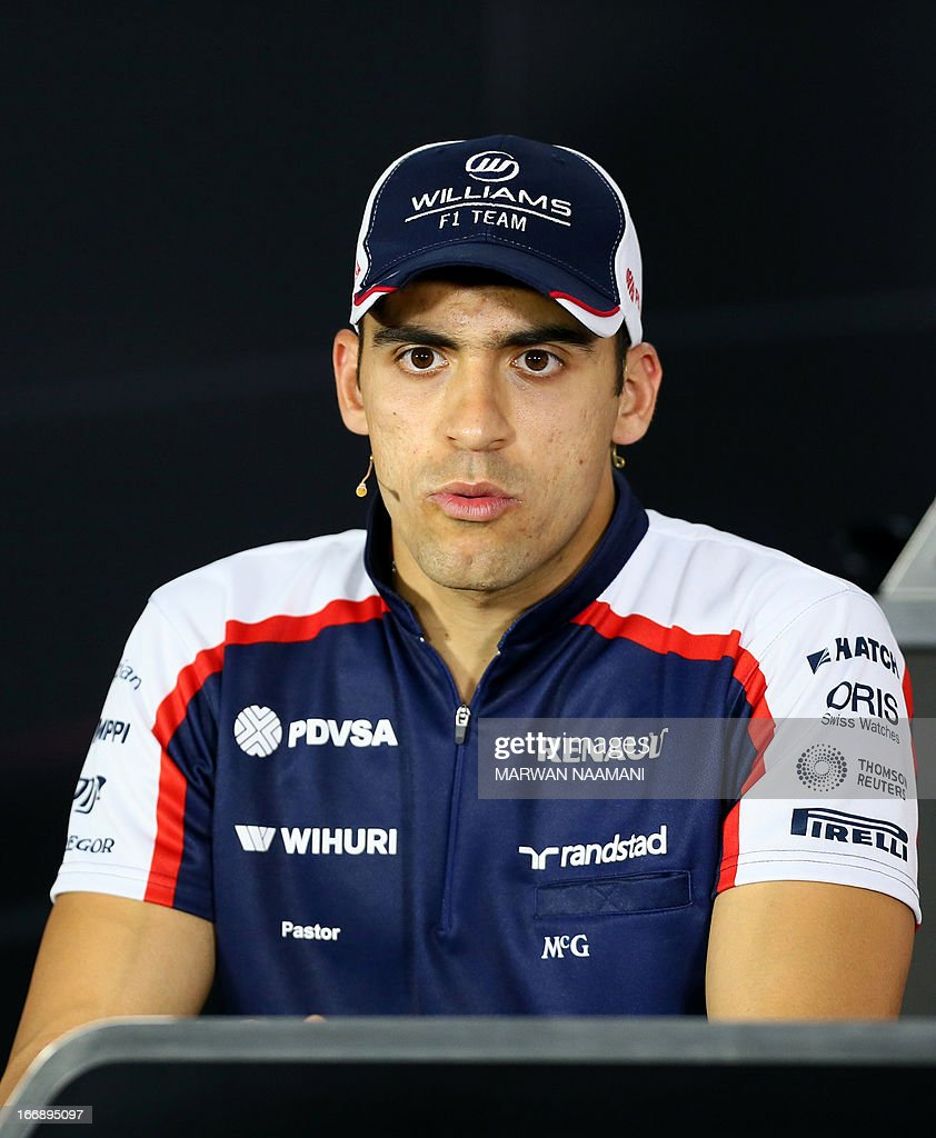 William's Venezuelan driver Pastor Maldonado sits during a press conference on April 18, 2013 at the Bahrain International Circuit in Manama ahead of the Bahrain Formula One Grand Prix.