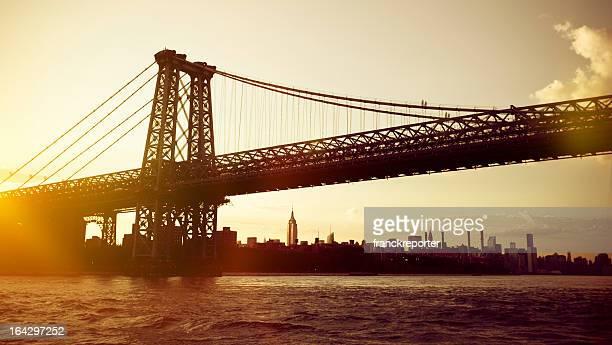 Williamsburg Bridge  in Manhattan at sunset - NYC