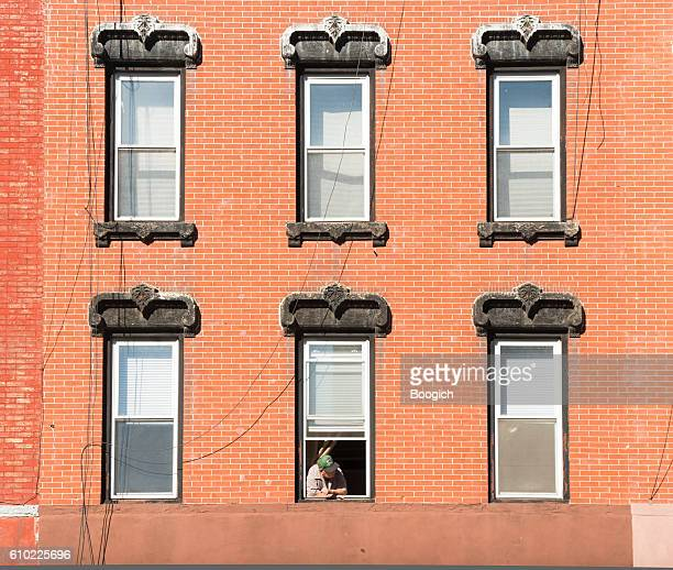 NYC Williamsburg Brooklyn Historic Brick Architecture Details Windows and Resident