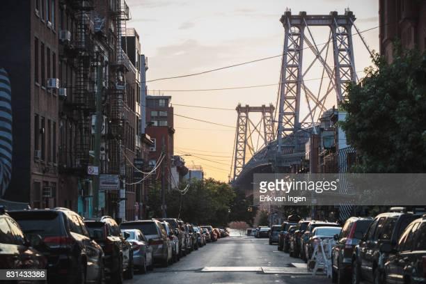 A Williamsburg, Brooklyn street at sunset