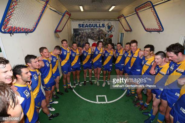 Williamstown celebrate in the dressing rooms following victory in the round nine VFL match between Williamstown and North Ballarat at Burbank Oval on...