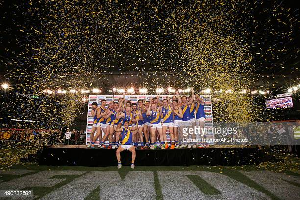 Williamstown players celebrate winning the VFL Grand Final match between Williamstown and Box Hill at Etihad Stadium on September 27 2015 in...