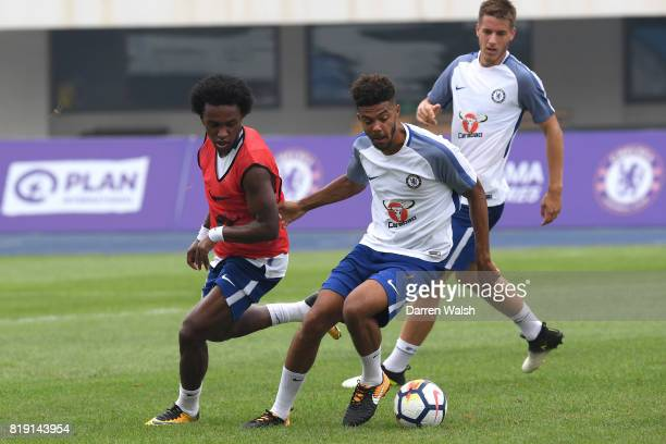 Willian and Jake ClarkeSalter of Chelsea during a training session at the AOTI Stadium on July 20 2017 in Beijing China