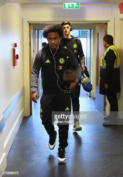 Willian and Thibaut Courtois of Chelsea arrive prior to the Premier League match between Chelsea and Southampton at Stamford Bridge on April 25 2017...