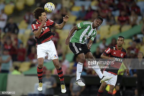 Willian Arao of Flamengo battles for the ball with Iago Dias of Coritiba during the match between Flamengo and Coritiba as part of Brasileirao Series...