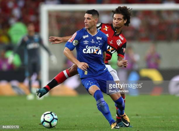 Willian Arao of Flamengo struggles for the ball with Thiago Neves of Cruzeiro during a match between Flamengo and Cruzeiro part of Copa do Brasil...