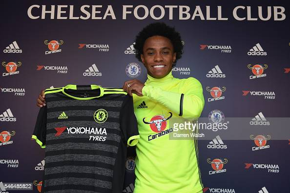 Willian at Chelsea Training Ground on July 12 2016 in Cobham England