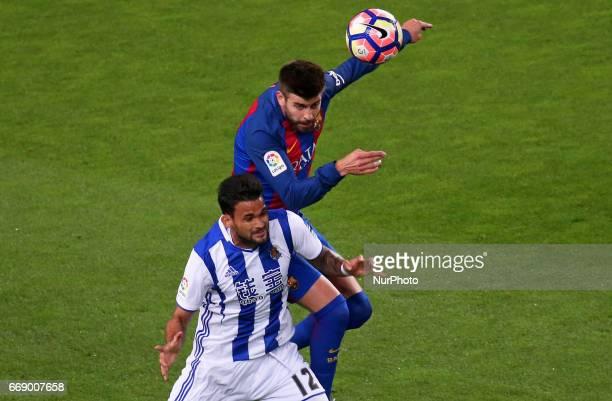 Willian Jose and Gerard Pique during La Liga match between FC Barcelona v Alaves during the La Liga match between FC Barcelona and Real Sociedad de...