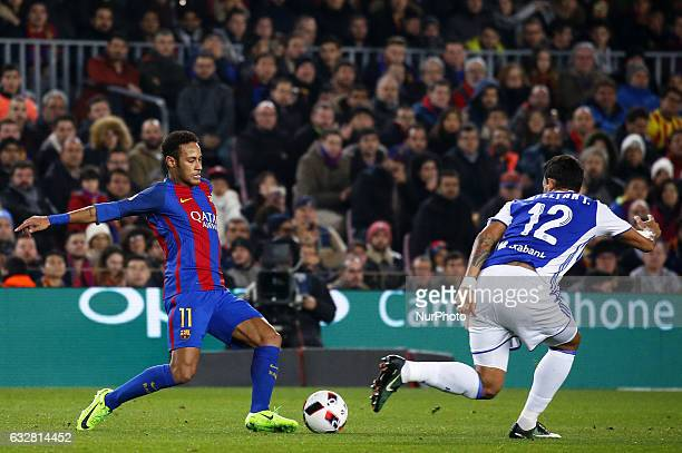 Willian Jose and Neymar Jr during the 1/4 final King Cup match between FC Barcelona v Real Sociedad in Barcelona on January 26 2017