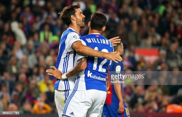 Willian Jose and Xabi Prieto celebration during La Liga match between FC Barcelona v Alaves during the La Liga match between FC Barcelona and Real...