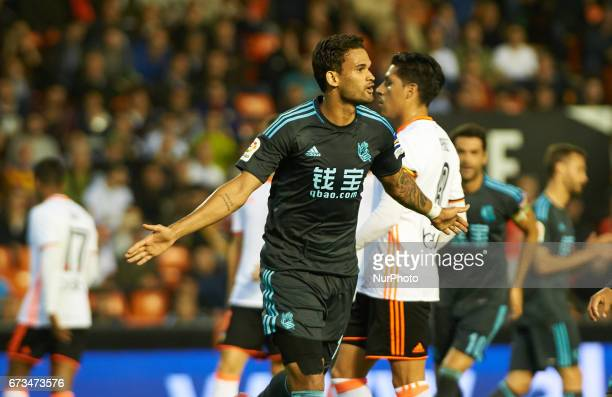 Willian Jose celebrates after scoring a goal during their La Liga match between Valencia CF and Real Sociedad at the Mestalla Stadium on 26th April...