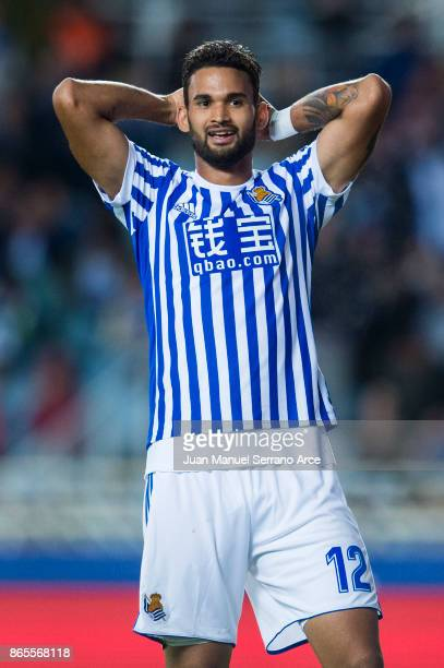 Willian Jose Da Silva of Real Sociedad reacts during the La Liga match between Real Sociedad de Futbol and RCD Espanyol at Estadio Anoeta on October...